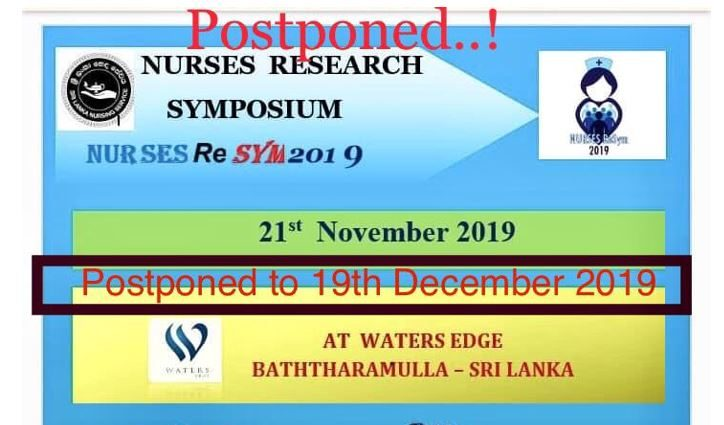 Postponed the Nursing Research Symposium